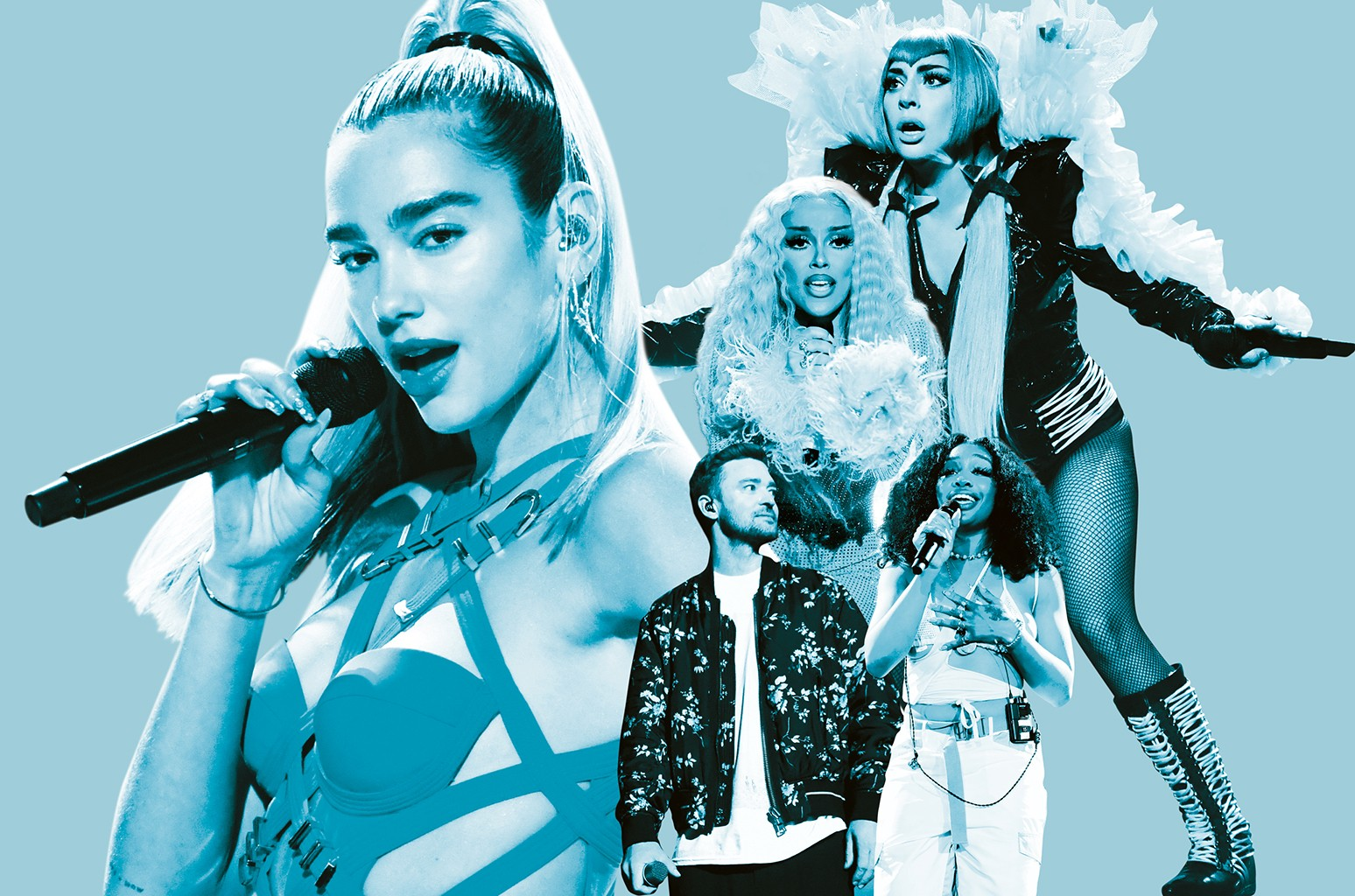 Dua Lipa, Lady Gaga, Doja Cat, Justin Timberlake and Sza