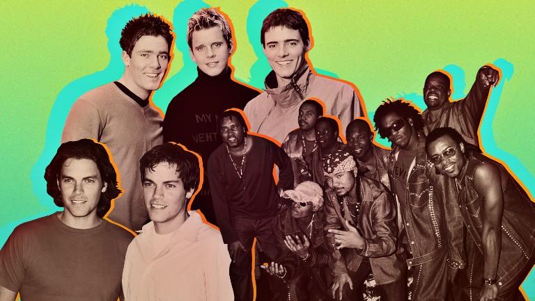 <p>Clockwise from top circa 2000: BBMak, Baha Men, Evan and Jaron </p>