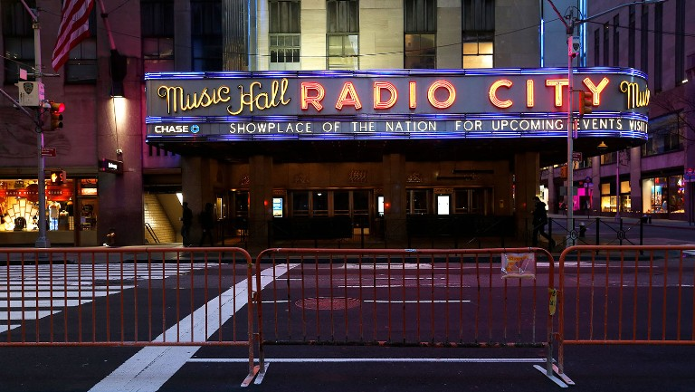 <p>Radio City Music Hall, which is closed to the public due to the coronavirus, is seen on March 17, 2020 in New York City. </p>