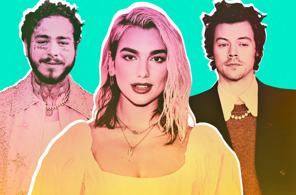 Post Malone, Dua Lipa and Harry Styles