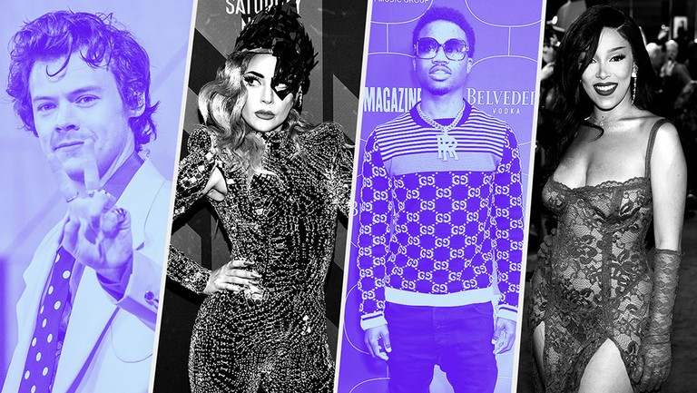 <p>Harry Styles, Lady Gaga, Roddy Ricch, Doja Cat. </p>