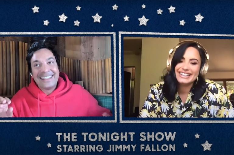 Demi Lovato and Jimmy Fallon