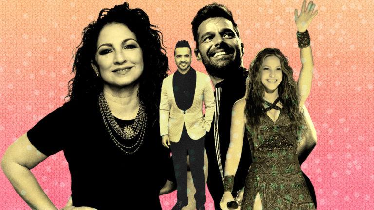 <p>Gloria Estefan, Fonsi, Ricky Martin, Shakira.</p>
