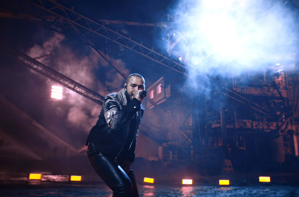 Post Malone performs at the 2020 Billboard Music Awards.