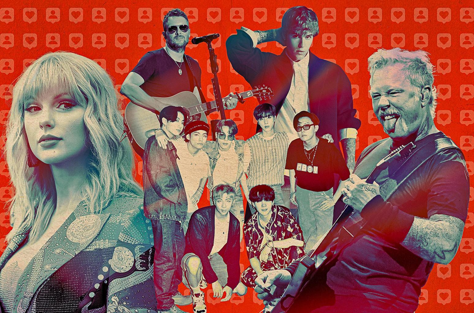 Taylor Swift, Eric Church, Justin Bieber, James Hetfield of Metallica, BTS