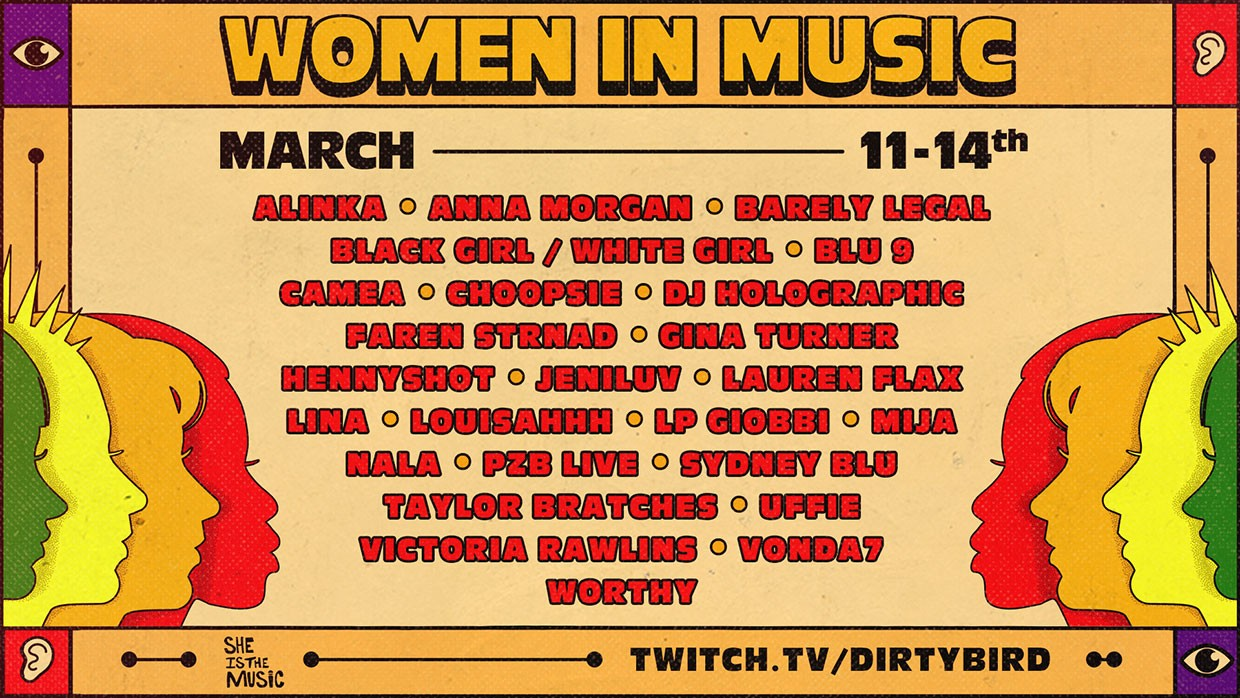 Dirtybird partners with She Is The Music for 'Women in Music' livestream celebrationWomen In Music Lineup 2021 Billboard 1240 1614715675 Compressed