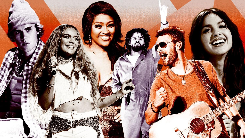 Justin Bieber, Karol G, Jazmine Sullivan, J. Cole, Eric Church, Olivia Rodrigo