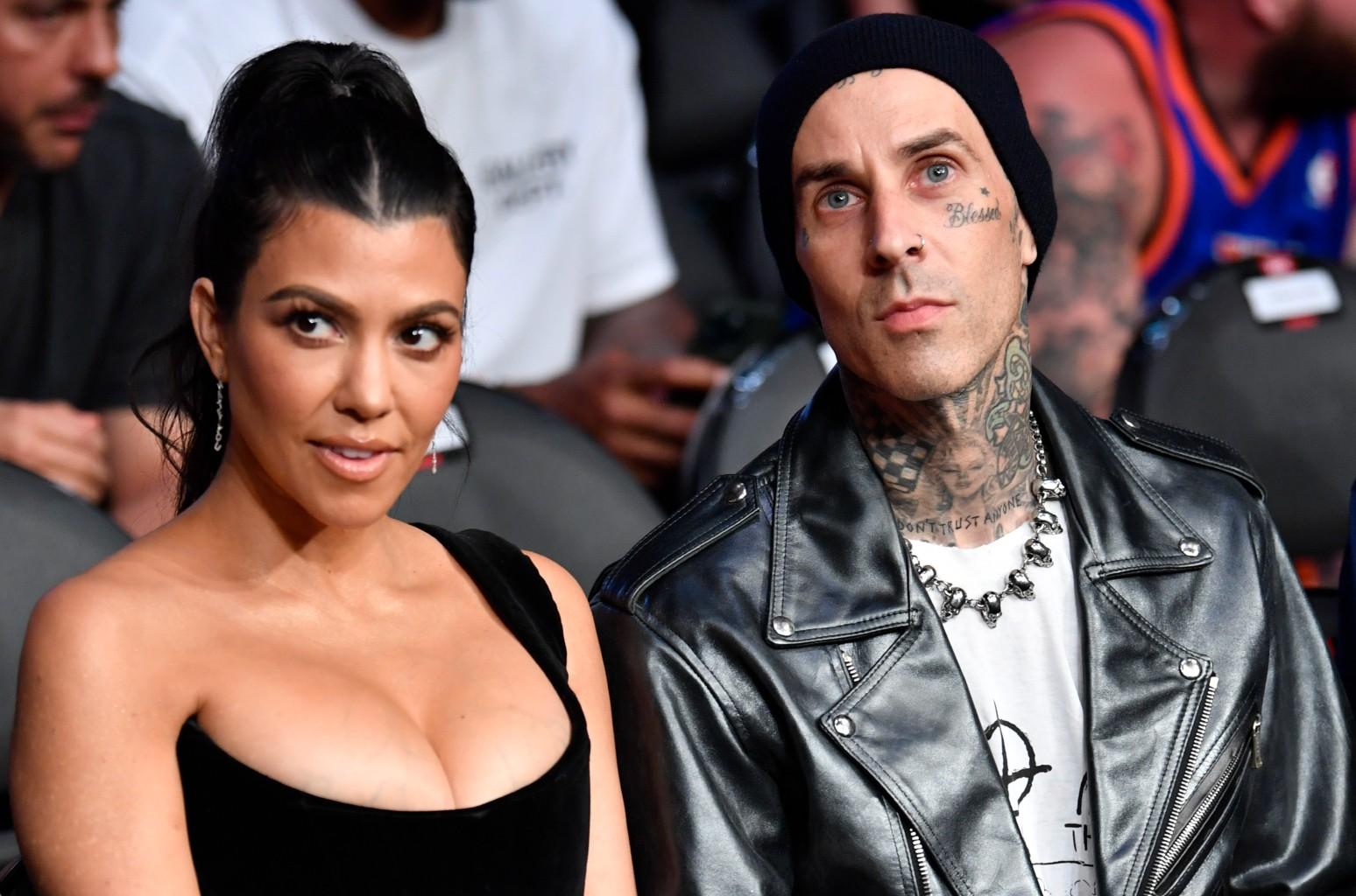 Travis Barker & Kourtney Kardashian Celebrate Halloween Early as Sid & Nancy: See Photos