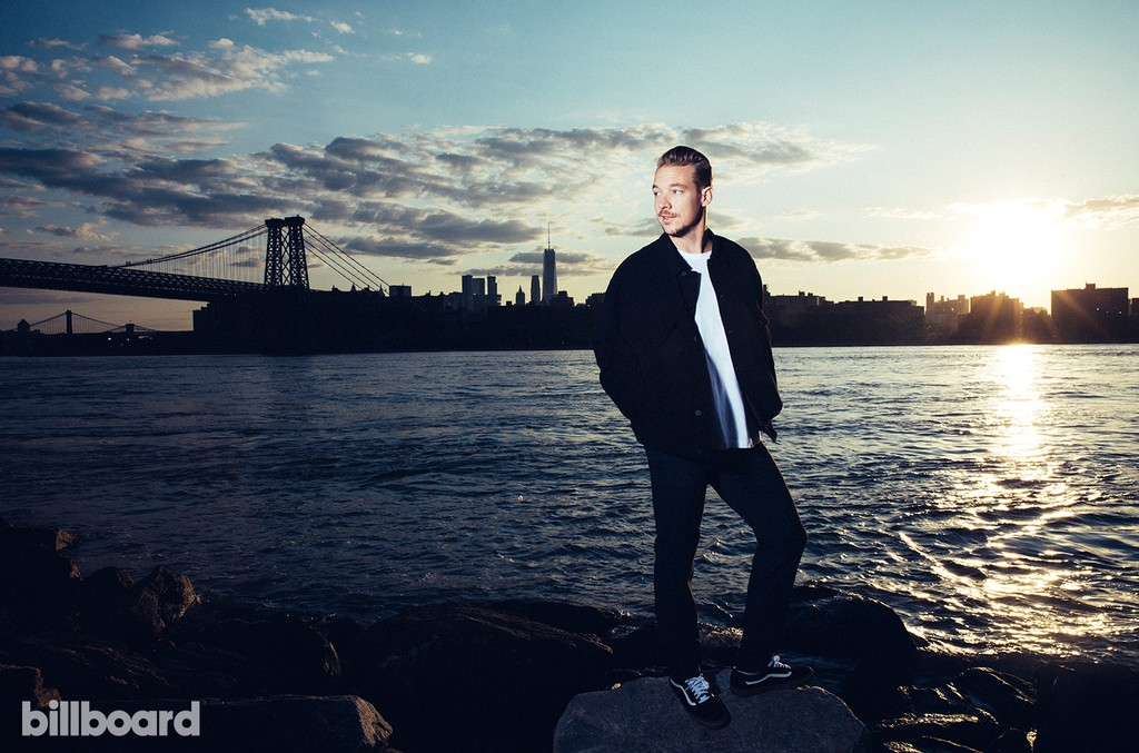 Styling by Coquito Cassibba. Diplo wears an Alexander Wang jacket, OAK shirt, Opening Ceremony pants and Vans sneakers.