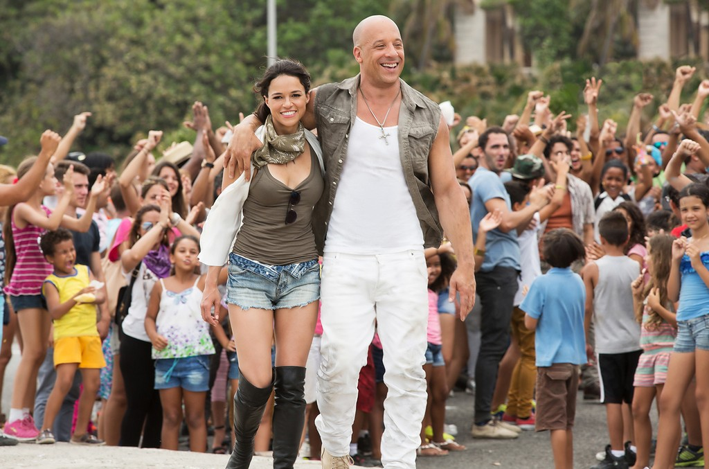 Michelle Rodriguez and Vin Diesel in The Fate of the Furious.