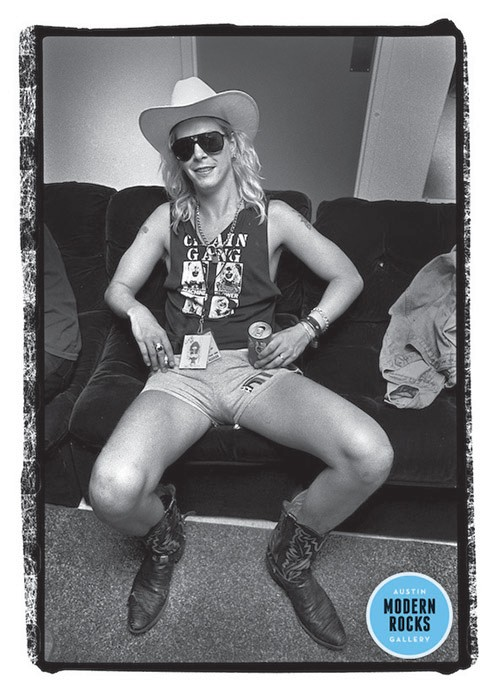 Duff McKagan of Guns N' Roses photographed backstage in 1988.