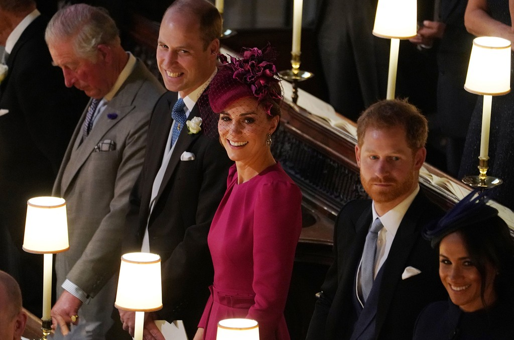 Prince William, Duke of Cambridge Catherine, Duchess of Cambridge, Prince Harry, Duke of Sussex Meghan, Duchess of Sussex attend the wedding of Jack Brooksbank and Princess Eugenie of York at St. George's Chapel on Oct. 12, 2018 in Windsor, England.