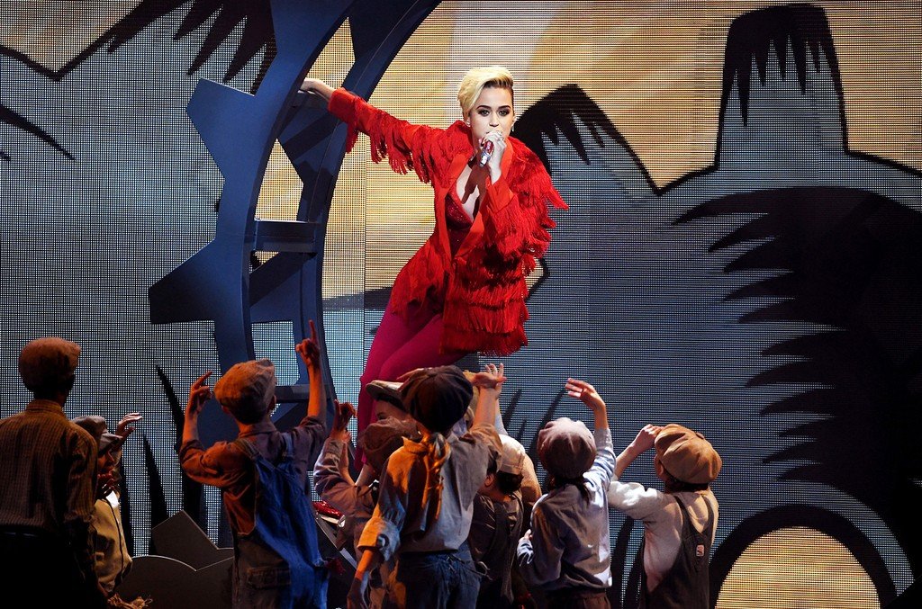 Katy Perry performs onstage at the 2017 iHeartRadio Music Awards which broadcast live on Turner's TBS, TNT, and truTV at The Forum on March 5, 2017 in Inglewood, Calif.