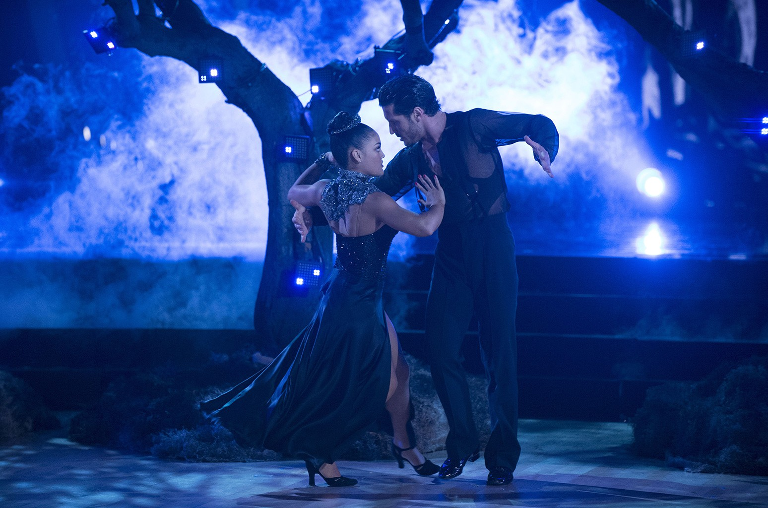 Laurie Hernandez and Valentin Chmerkovskiy on Dancing with the Stars on Nov. 14, 2016.