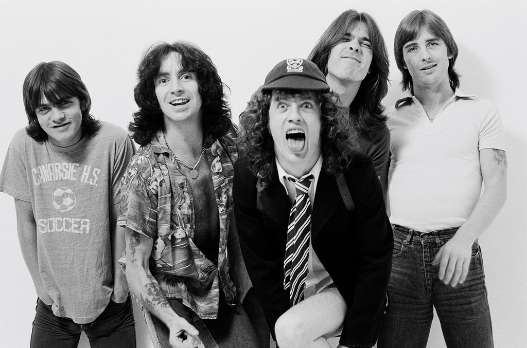 Malcolm Young, Bon Scott, Angus Young, Cliff Williams and Phil Rudd of AC/DC