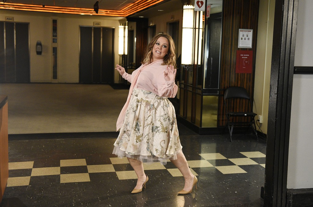 Melissa McCarthy poses for Saturday Night Live promos backstage in Studio 8H on May 9, 2017.