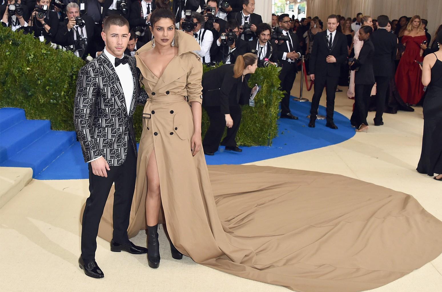 "Nick Jonas and Priyanka Chopra attend the ""Rei Kawakubo/Comme des Garcons: Art Of The In-Between"" Costume Institute Gala at Metropolitan Museum of Art on May 1, 2017 in New York City."