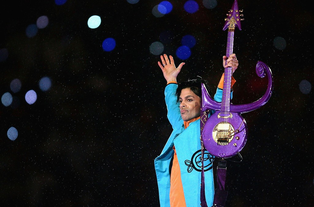 "Prince performs during the ""Pepsi Halftime Show"" at Super Bowl XLI between the Indianapolis Colts and the Chicago Bears on Feb. 4, 2007 at Dolphin Stadium in Miami Gardens, Fla."