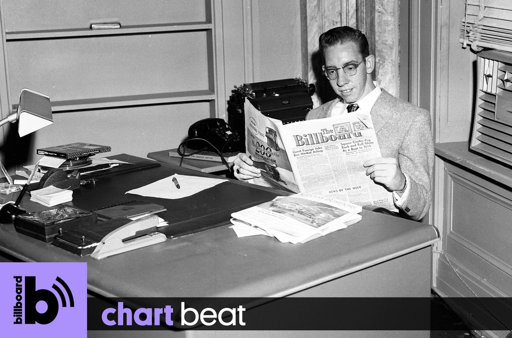 Bud Conrad reading Billboard magazine in Charlie Lamb's office in the late 1950s.