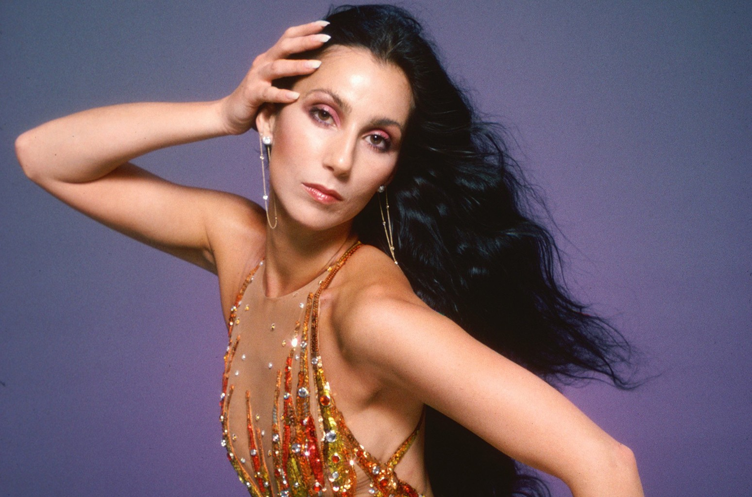 Cher poses in a Bob Mackie creation on April 9, 1978 in Los Angeles.