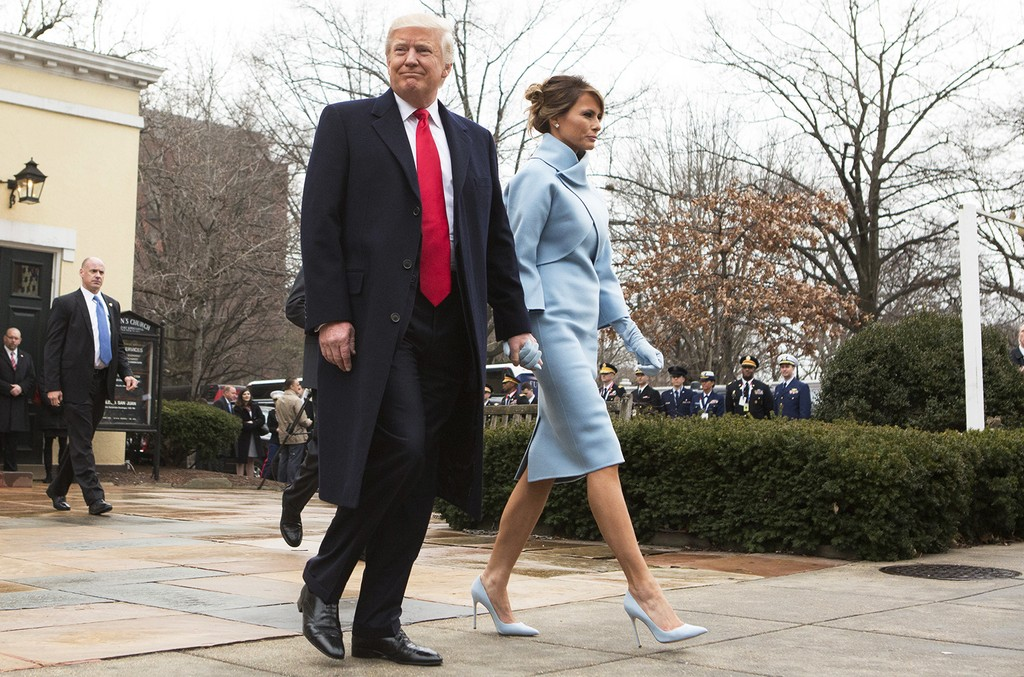 President-elect Donald J. Trump and first lady-elect Melania Trump depart St. John's Church on Inauguration Day on Jan. 20, 2017 in Washington, DC.