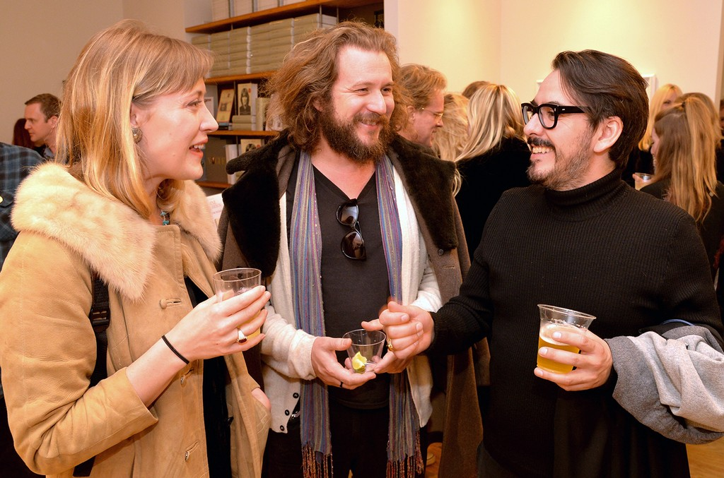 """Jim James of My Morning Jacket and Dhani Harrison attend the """"I ME MINE"""" George Harrison book launch at Subliminal Projects Gallery on Feb. 25, 2017 in Los Angeles."""