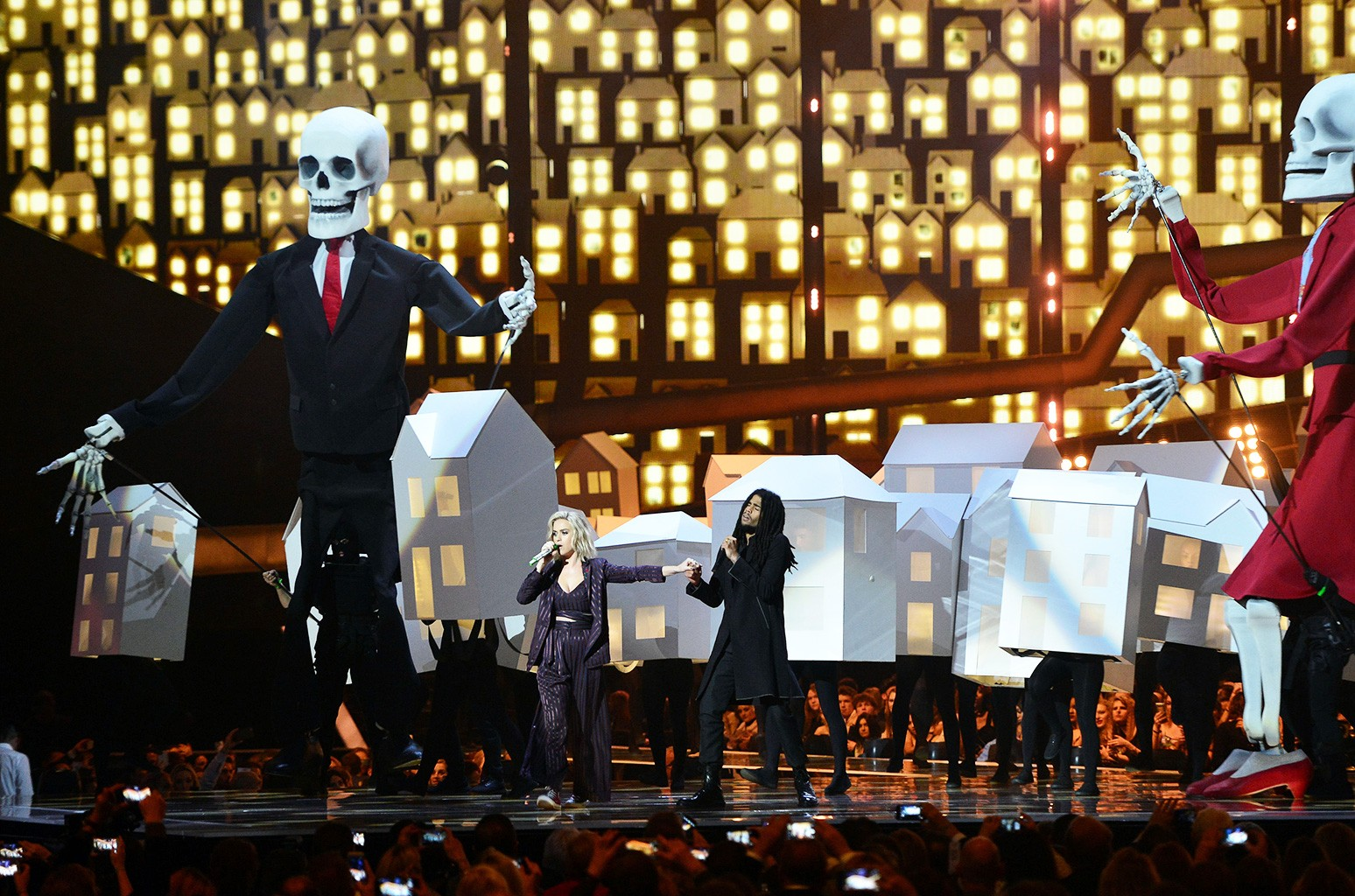 Katy Perry performing on stage at the Brit Awards at the O2 Arena, London.