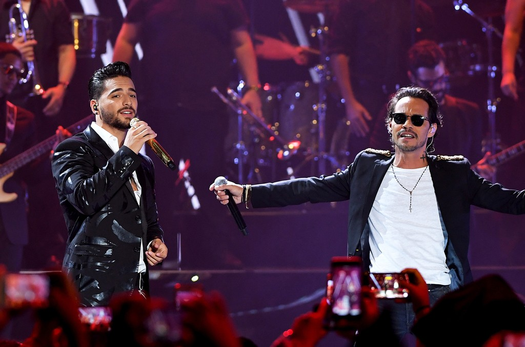 "Maluma and Marc Anthony perform on stage during Univision's ""Premios Juventud"" 2017 Celebrates The Hottest Musical Artists And Young Latinos Change-Makers at Watsco Center on July 6, 2017 in Coral Gables, Fla."