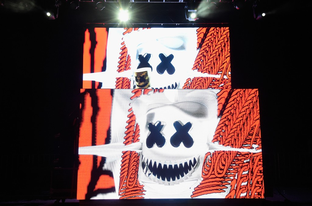 Marshmello performs onstage during the 2016 Billboard Hot 100 Festival
