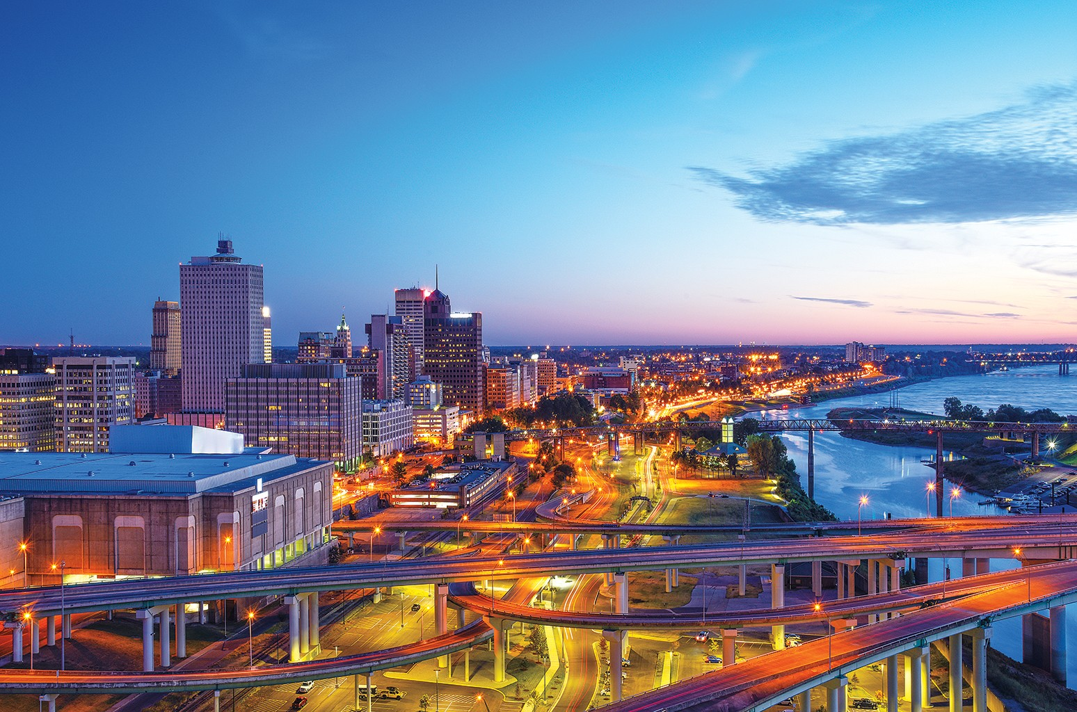 The Memphis skyline, anchored by the Cook Convention Center, where the 2017 Memphis Blues Awards will take place May11.