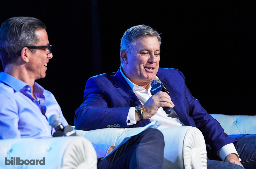 Tim Leiweke (Oak View Group)  and Jem Aswad (Billboard) on stage during '10 Questions With'  at the Billboard Touring Conference & Awards on Nov. 10, 2016 in Beverly Hills, Calif.