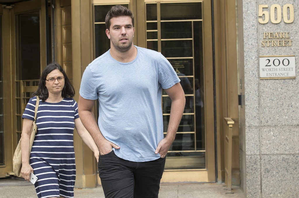 Billy McFarland, right, leaves federal court with his attorney Sabrina Shroff after his arraignment on July 1, 2017 in New York.