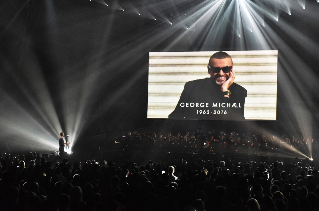Chris Martin performs a tribute to George Michael on stage at The Brit Awards 2017 at The O2 Arena on Feb. 22, 2017 in London, England.