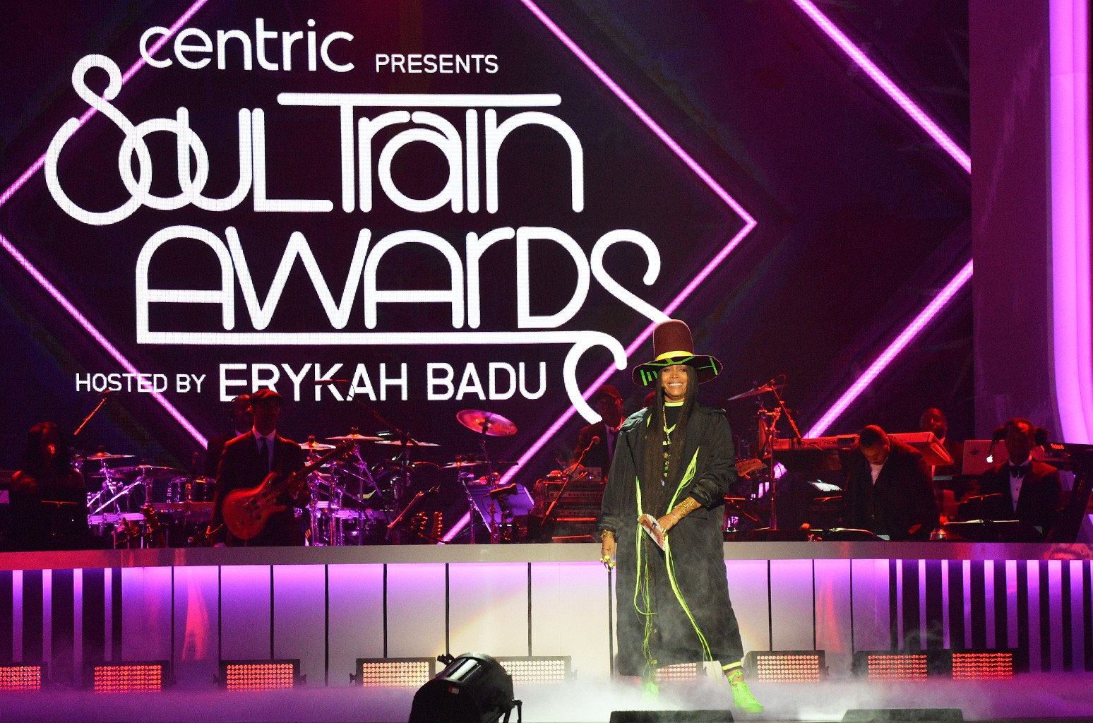Erykah Badu speaks onstage during the 2016 Soul Train Music Awards at the Orleans Arena on Nov. 6, 2016 in Las Vegas.