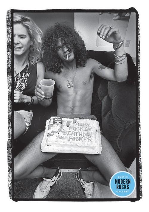 Slash of Guns N' Roses photographed backstage in 1988.