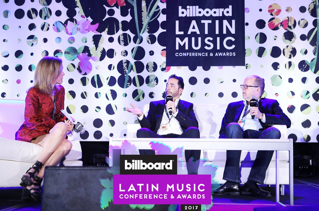 (l-r) Billboard's Leila Cobo, Jorge Mejia of Sony/ATV Latin and Danny Strick of Sony ATV US during the Industry Keynote Masterclass Panel at the Billboard Latin Music Conference in Miami on April 25, 2017.