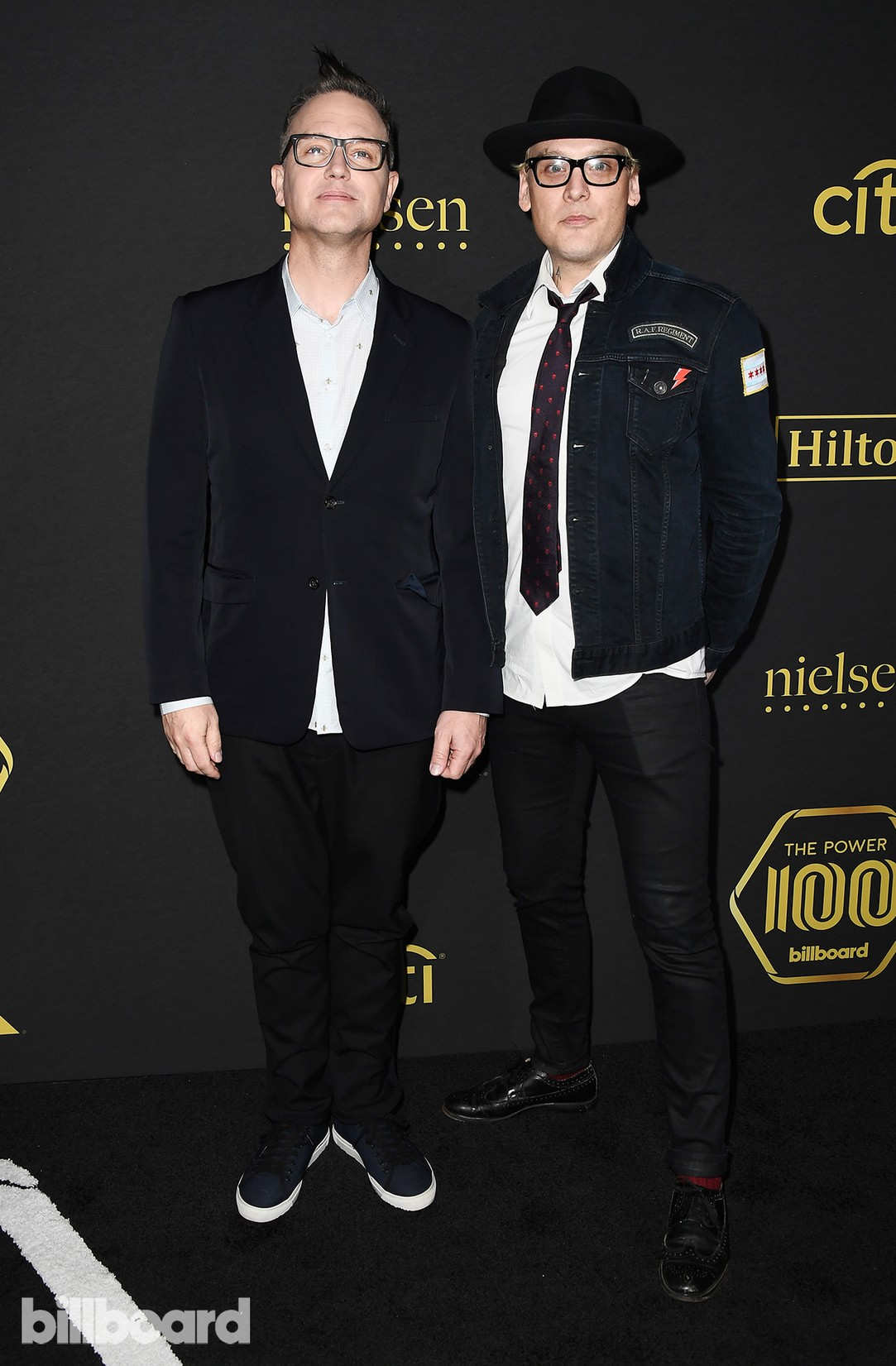 Mark Hoppus (L) and Matt Skiba of Blink 182 attends Billboard Power 100 - Red Carpet at Cecconi's on Feb. 9, 2017 in West Hollywood, Calif.
