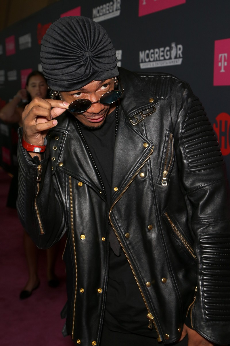 Nick Cannon arrives on T-Mobile's magenta carpet duirng the Showtime, WME IME and Mayweather Promotions VIP Pre-Fight Party for Mayweather vs. McGregor at T-Mobile Arena on Aug. 26, 2017 in Las Vegas.
