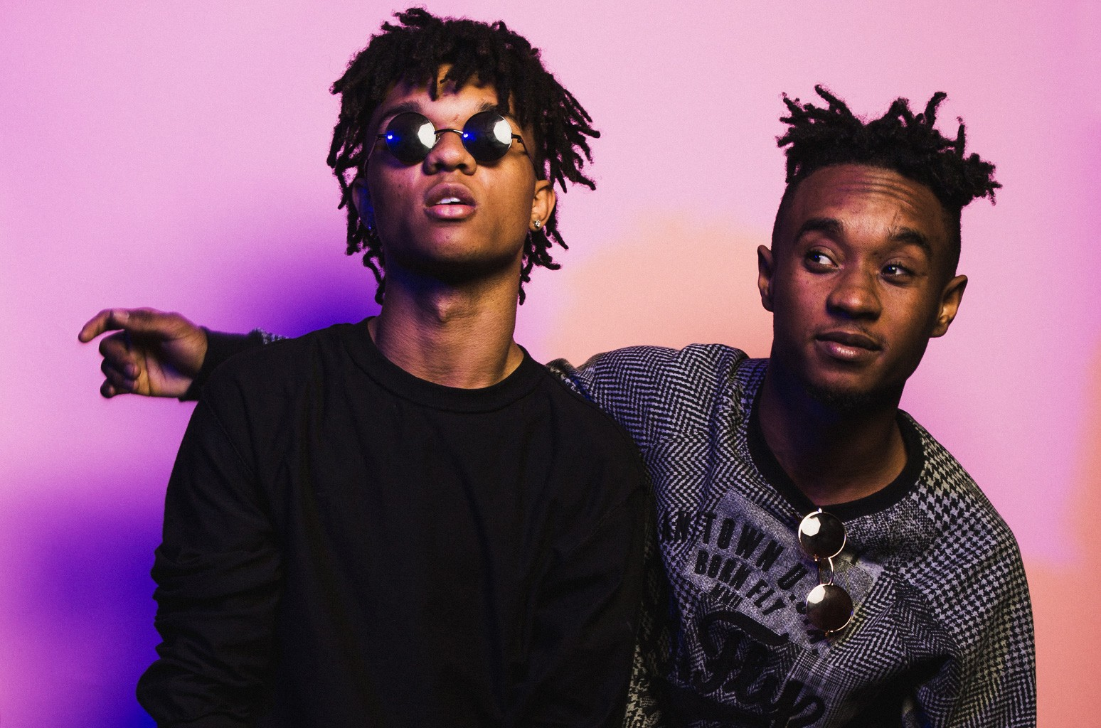Swae Lee and Slim Jimmy of Rae Sremmurd pose for a portrait backstage at The Fader Fort Presented By Converse at Converse Rubber Tracks Studio in Brooklyn, New York.