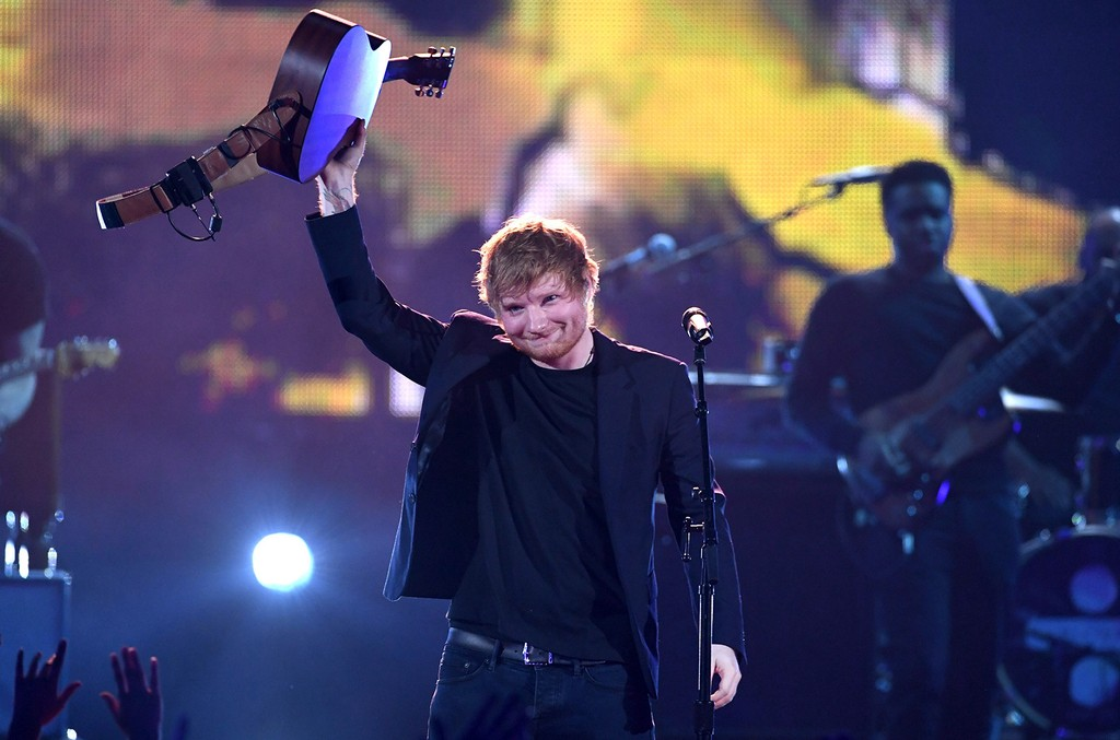 Ed Sheeran performs onstage at the 2017 iHeartRadio Music Awards which broadcast live on Turner's TBS, TNT, and truTV at The Forum on March 5, 2017 in Inglewood, Calif.