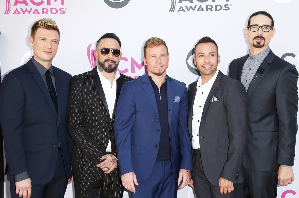 Backstreet Boys arrive at the 52nd Academy of Country Music Awards held at T-Mobile Arena on April 2, 2017 in Las Vegas