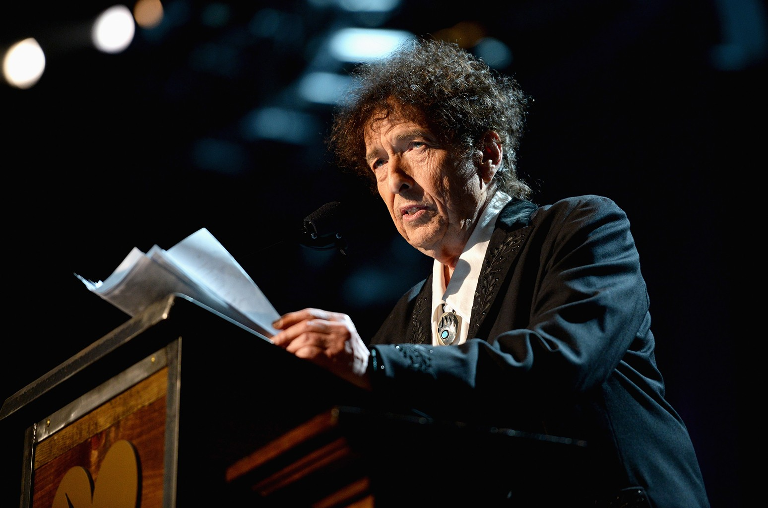 Bob Dylan speaks onstage at the 25th anniversary MusiCares 2015 Person Of The Year Gala
