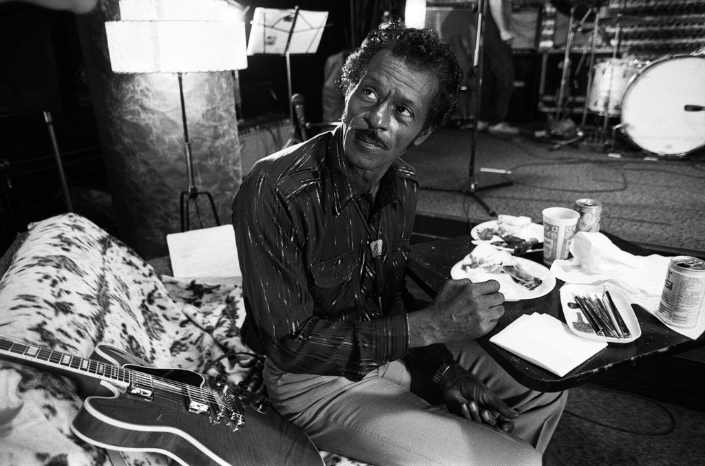 Chuck Berry during rehearsals in St Louis while filming of the documentary Hail Hail rock n Roll.