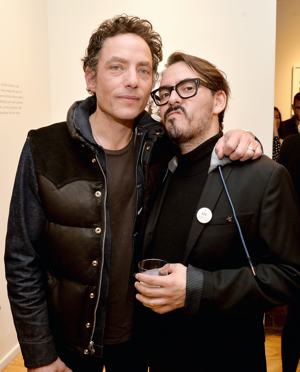 """Jakob Dylan (L) and singer-songwriter Dhani Harrison attend the """"I ME MINE"""" George Harrison book launch at Subliminal Projects Gallery on February 25, 2017 in Los Angeles, California.  (Photo by Jeff Kravitz/FilmMagic)"""