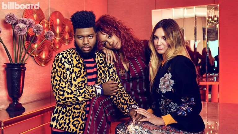 <p>From left: Khalid, SZA and Michaels photographed Sept. 23 at El Cortez Hotel &amp&#x3B; Casino in Las Vegas. Styling by Cat Tapper. Khalid wears a The Elder Statesman sweater, Libertine jacket and Second/Layer pants. SZA wears a Solace London&nbsp&#x3B;suit, Calvin Klein bra and We Who Prey pins. Michaels wears a Cotton Citizen top, Libertine jacket and 16Arlington pants.&nbsp&#x3B;</p>