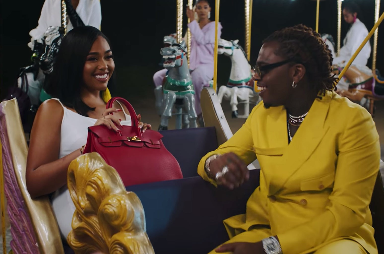 "Jordyn Woods and Gunna in the music video for ""Baby Birkin"""