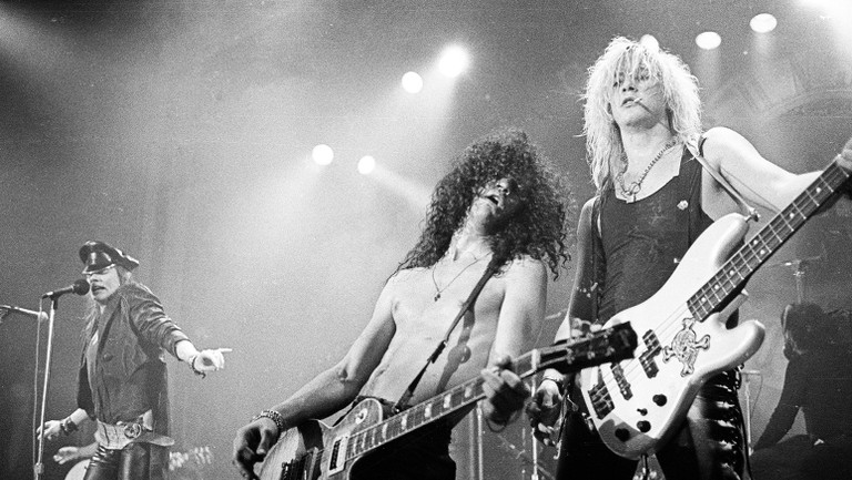 <p>Duff McKagan, Slash and Axl Rose of Guns &#39&#x3B;n&#39&#x3B; Roses perform in concert at the Ritz on Feb. 2, 1988 in New York City.&nbsp&#x3B;</p>