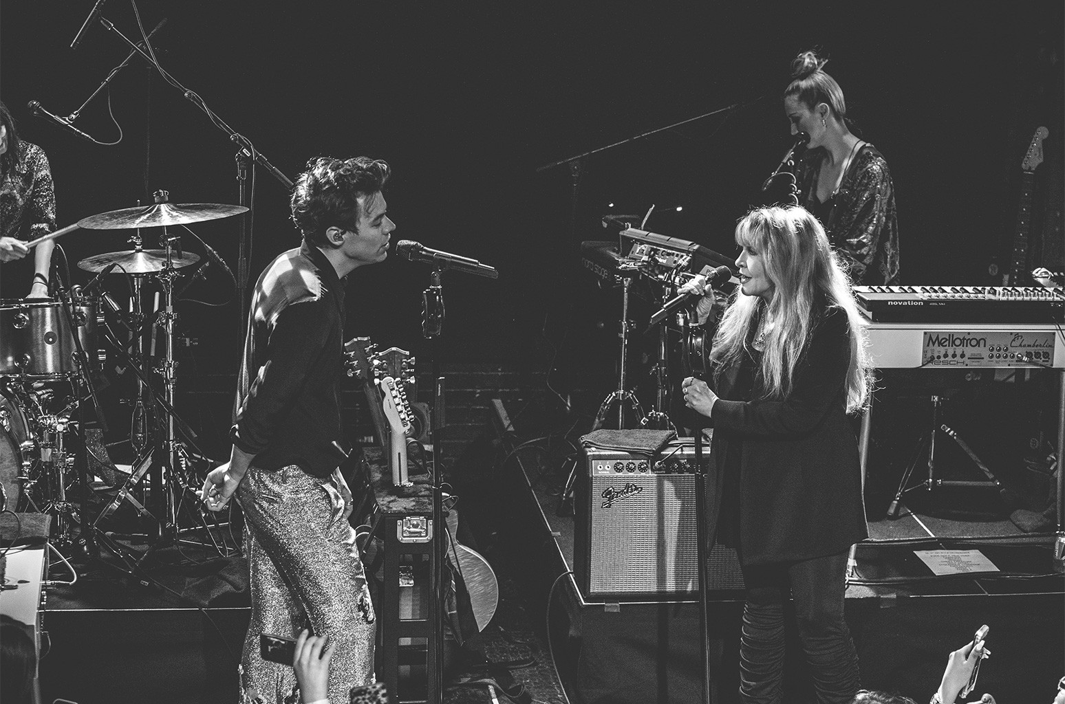 Harry Styles and Stevie Nicks onstage at The Troubadour on May 19, 2017 in Los Angeles.