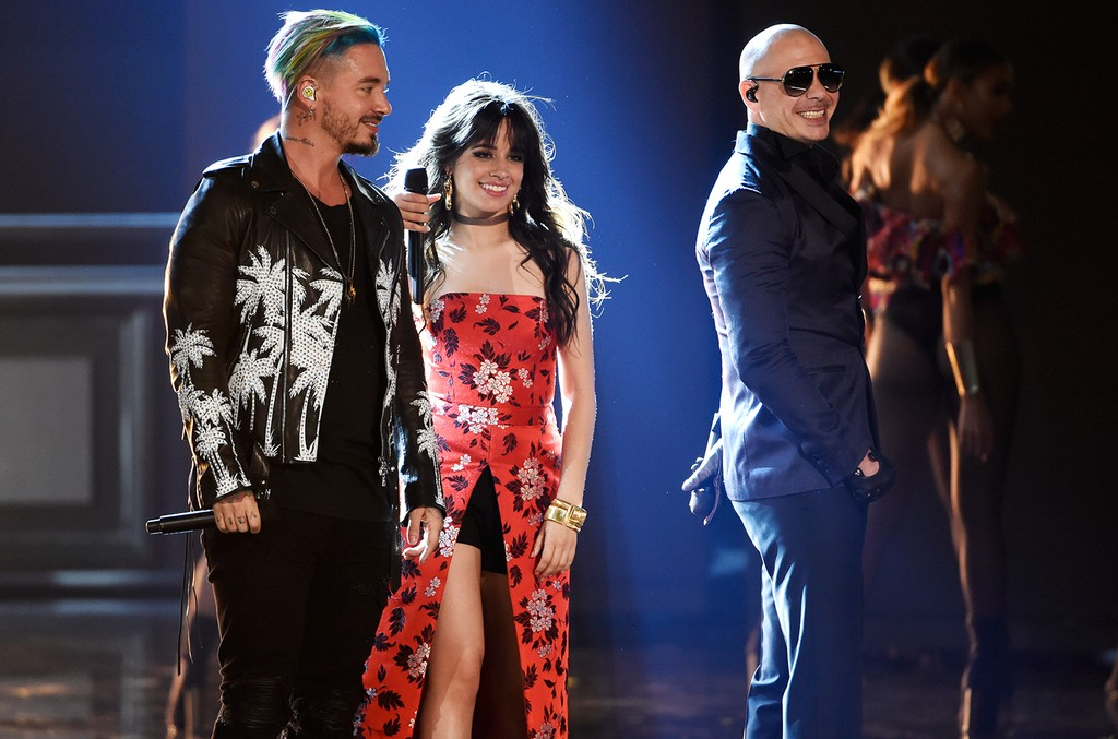 """J Balvin, Camila Cabello, and Pitbull perform """"Hey Ma"""" at the MTV Movie and TV Awards at the Shrine Auditorium on May 7, 2017 in Los Angeles."""
