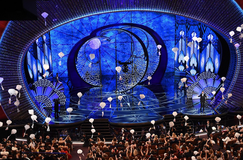 Host Jimmy Kimmel performs on stage at the 89th Oscars on Feb. 26, 2017 in Hollywood, Calif.